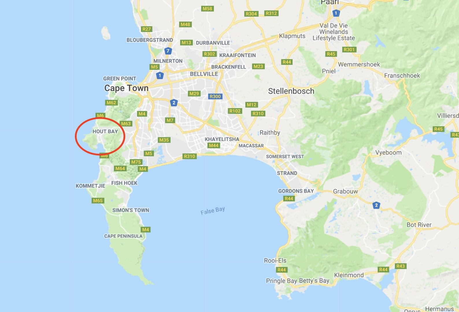 hout bay deep sea fishing charters cape town map