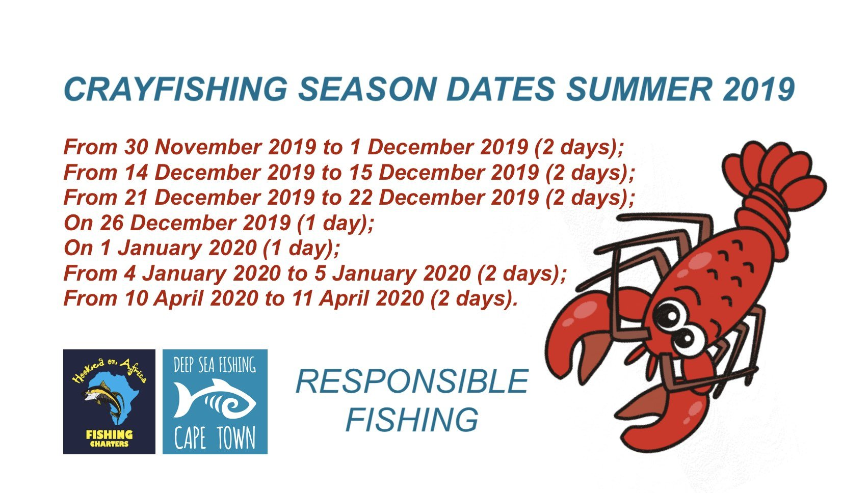Crayfish Season 2019 to 2020 Cape Town Western Cape